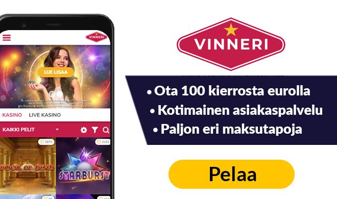 Casino Vinneri tarjoaa 100 kierrosta eurolla
