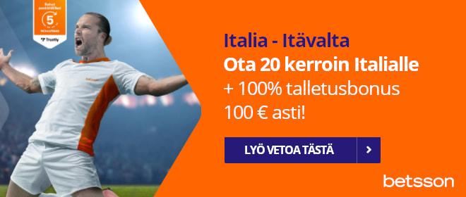 Betsson Italia - Itävalta 20 kerroin Italialle