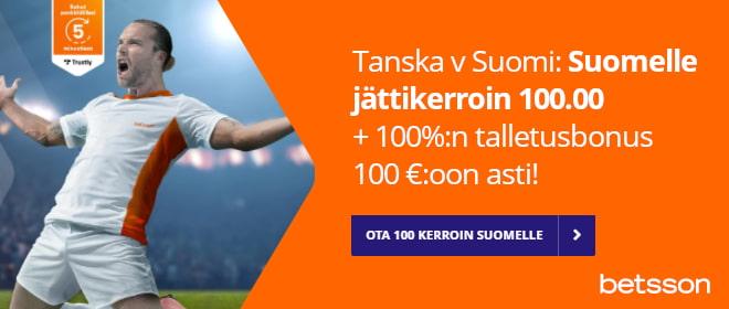 Suomi 100 kerroin Betsson Tanska - Suomi em otteluun