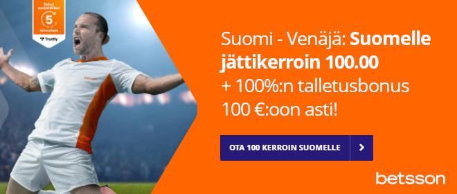 Betssonin vedonlyöntibonus Suomi Venäjä otteluun