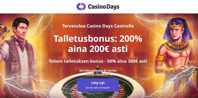 Casino Days bonuksen avulla tuplaat talletuksesi 500 € asti