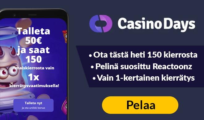 Kokeile uudistunutta Casino Days sivustoa 100% non-sticky bonuksella