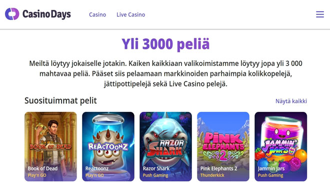 Casino Days kokemuksia pääsee keräämään 100% bonuksella