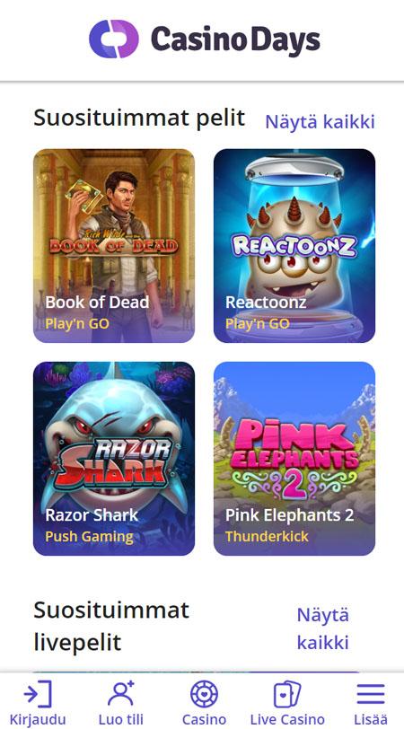 Kokeile Casino Days sivustoa mobiilissa