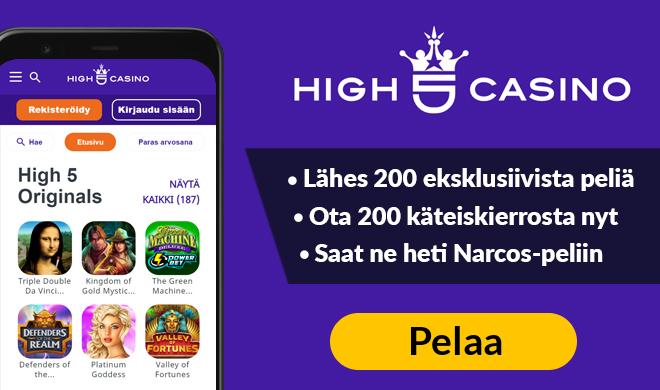 Nappaa jopa 100 käteiskierrosta High 5 Casinolta
