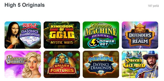 High5Casino.com:illa on lähes 200 eksklusiivista peliä