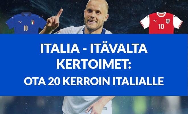 Italia Itävalta kertoimet - ota 20 kerroin Italialle ja katso kaikki kertoimet