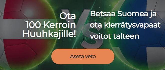 Tanska Suomi kerroin EM kisat - Mr Green tarjoaa 100 kertoimen Suomelle