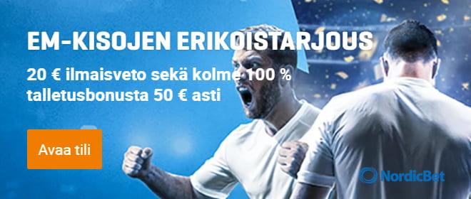 NordicBet bonus Suomi - Venäjä otteluun