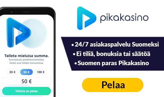 Pikakasino.com tarjoaa 24/7 asiakaspalvelun suomeksi sekä satoja laadukkaita pelejä.