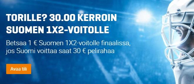 Suomi Kanada kerroin - Ota 30 kerroin Suomelle finaaliin