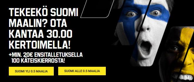 Unibet Suomi - Belgia kerroin Suomen maalille