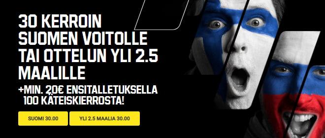 Unibet vedonlyöntibonus Suomi Venäjä otteluun