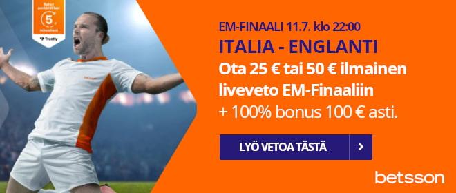 EM vedonlyöntibonus Betssonilta Finaaliin. Ota 25 € tai 50 € ilmaisveto ja 100% bonus.