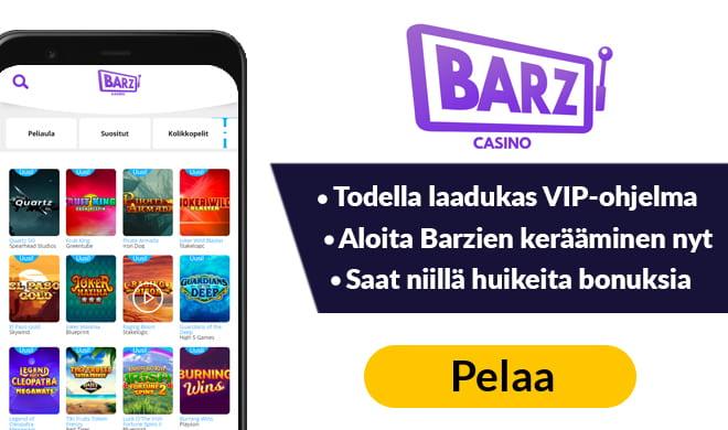 Barz Casino bonus toimii 500 € asti. Painamalla kuvaa voit aktivoida 200% bonuksen + 50 kierrosta.