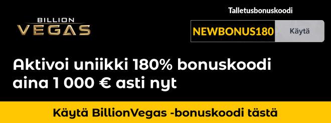 Nappaa uniikki bonuskoodi Billionvegas kasinolle