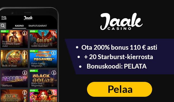 Ota Jaak Casino bonus haltuun, saat 200% edun 120 € asti