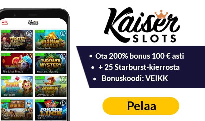Kaiser Slots tarjoaa 200% bonuksen 110 € asti + 15 kierrosta