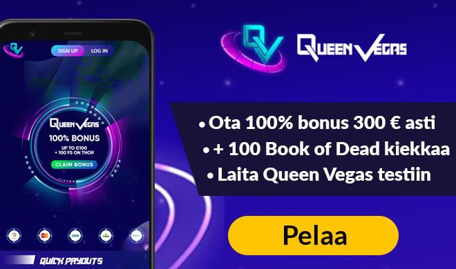 Aloita pelit Queen Vegas Casinolla 100 ilmaiskierroksella ja 300 € bonuksella