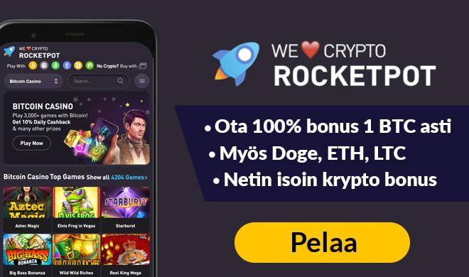 Rocketpot.io tarjoaa netin isoimman bonuksen joka on 100% 1 BTC asti
