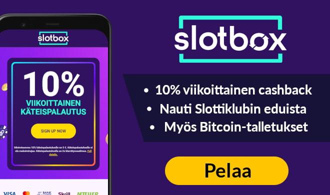 Slotbox kasinolla voit napata 100% bonuksen 200 € asti + 200 ilmaiskierrosta