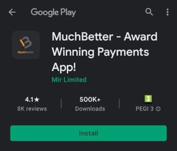 Asenna MuchBetter app joko Google Play tai Applen App Storesta