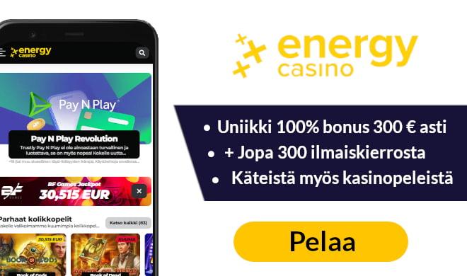 Ota heti Energy Casinolta 30 kierrota ilman talletusta