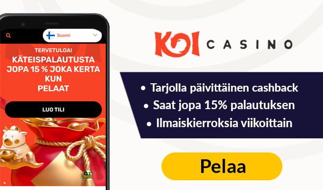 KoiCasino tuplaa talletuksen 500 € asti