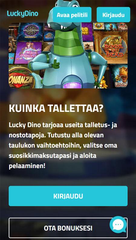 LuckyDino toimii hyvin myös puhelimella