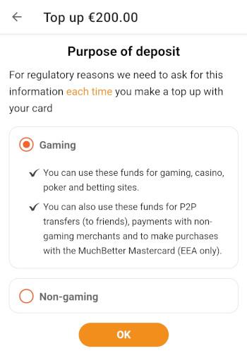 Valitse talletuksen tarkoitukseksi rahapelaaminen jotta voit käyttää varoja kasinolla.