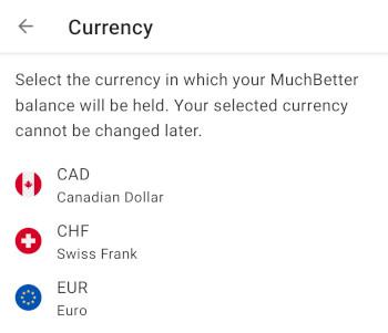 Valitse MuchBetter-tilin valuutaksi Euro