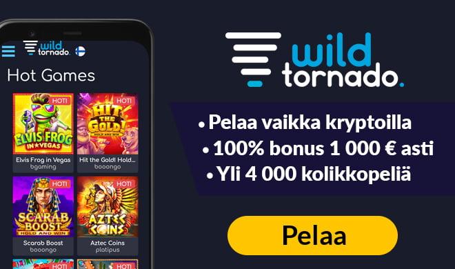 Laita WildTornado testiin 1 000 € bonuksella
