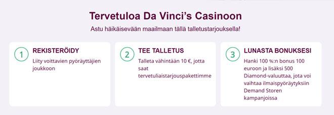 Da Vinci's Casinon bonuksen ohjeet on myös mainittu sivulla ja ne ovat todella selkeät