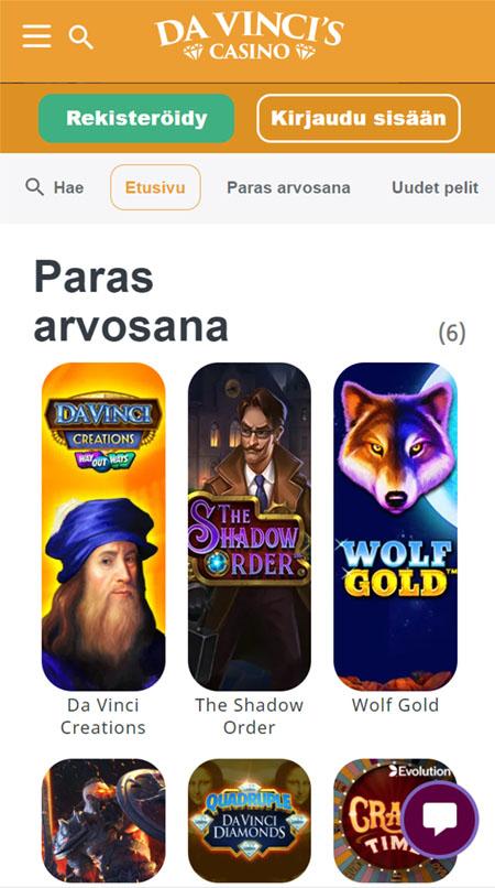 DaVinci's Casinon pelivalikoima on saatavilla myös mobiilissa