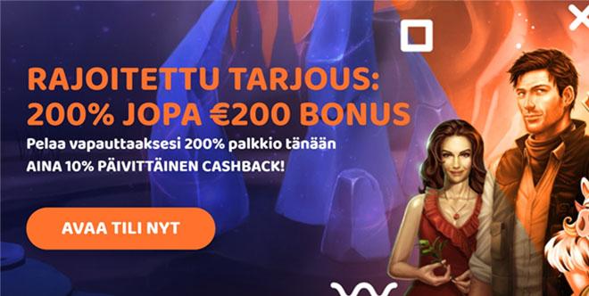 Uusille asiakkaille on tarjolla 200% bonus 200 € asti