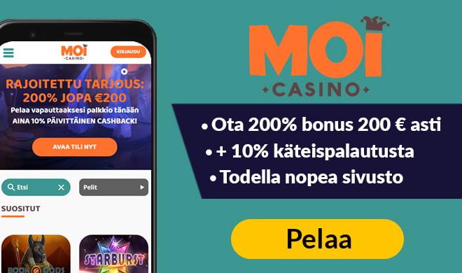 Moi Casino aloittaa pelit 200% bonuksella 200 € asti