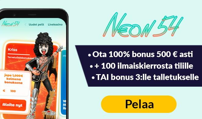 Laita Neon54 Casino testiin 100% bonuksella 500 €asti