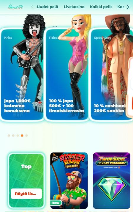 Neon54 kasino toimii myös mobiilissa