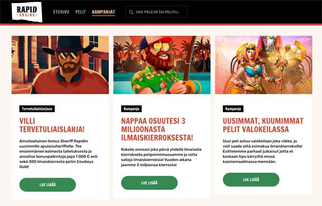 Rapid Casino tarjoaa useita eri kampanjoita