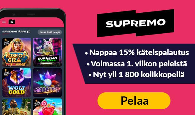 Pelaa Supremo Casino sivulla 100% bonuksella