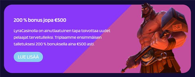 Lyra Casino bonuksen avulla aktivoit jopa 500 euroa ylimääräistä