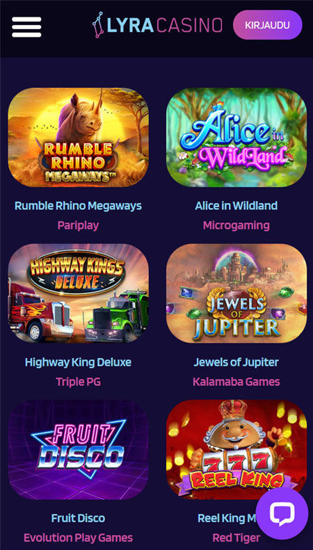 Lyra Casino pelit toimivat myös puhelimella