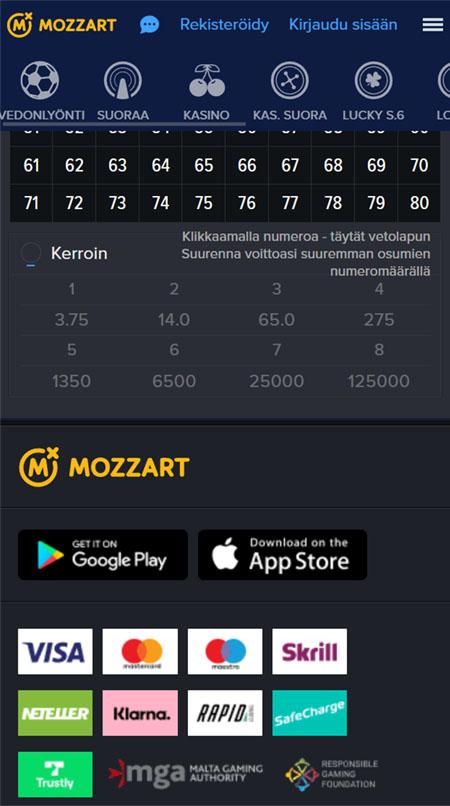 Mozzart Casinon pelit toimivat myös mobiilissa