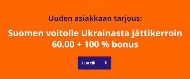 Suomi Ukraine tarjous kerroin on 60.00